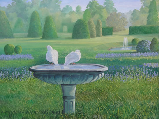 Doves - Painting in Surrey Art Gallery