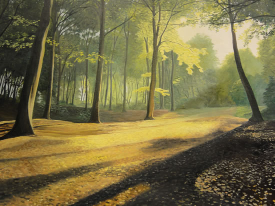 Shaded Woodlands Oil Painting by Surrey Artist